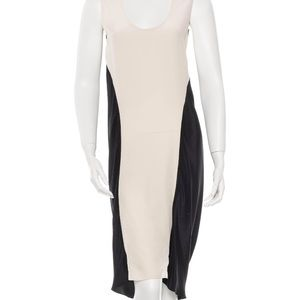 Vera Wang cream and black silk dress